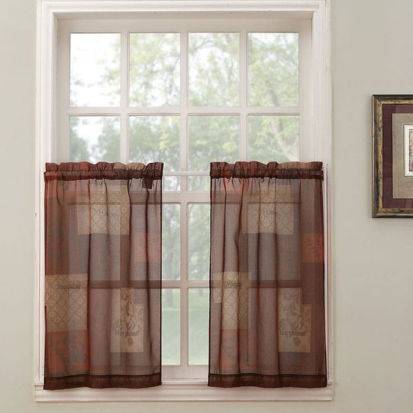 Multi Eden Sheer Kitchen Tier Curtains hanging on a curtain rod