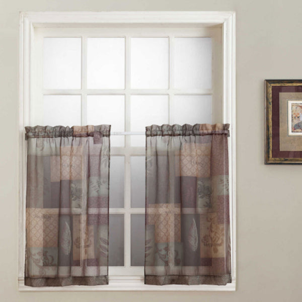 Sage Eden Sheer Kitchen Tier Curtains hanging on a curtain rod