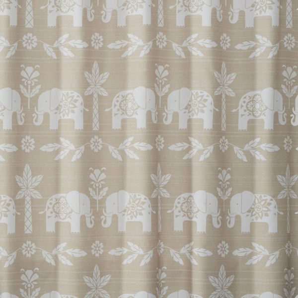 Close up shot of Natural Elephant Walk Fabric Shower Curtain fabric