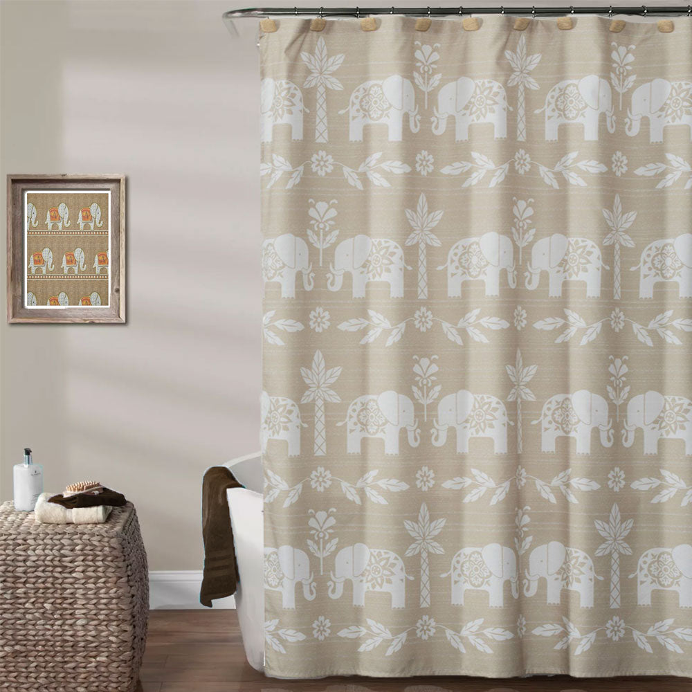 Natural Elephant Walk Fabric Shower Curtain hanging on a shower curtain rod