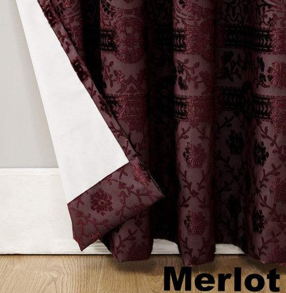 Merlot Sun Zero Elidah Theater Grade Blackout Grommet Top Panel showing lining