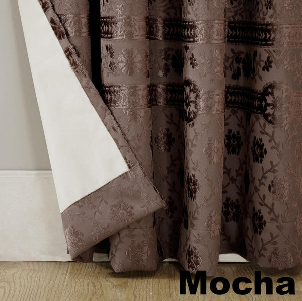 Mocha Sun Zero Elidah Theater Grade Blackout Grommet Top Panel showing lining