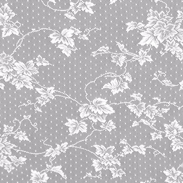 Up close shot of White English Ivy lace Door Panel fabric