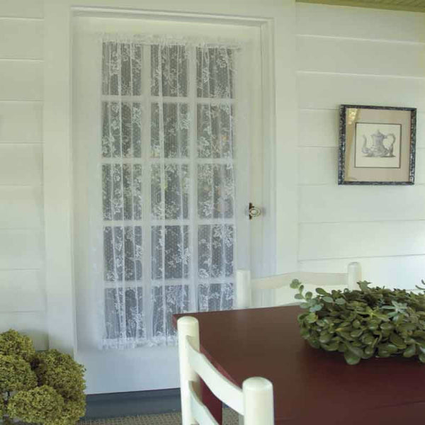 White English Ivy lace Door Panel hanging on  a french door