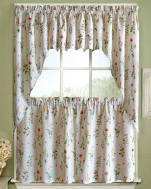 Multi English Garden Kitchen Valance and Tier Curtains hanging on a curtain rod