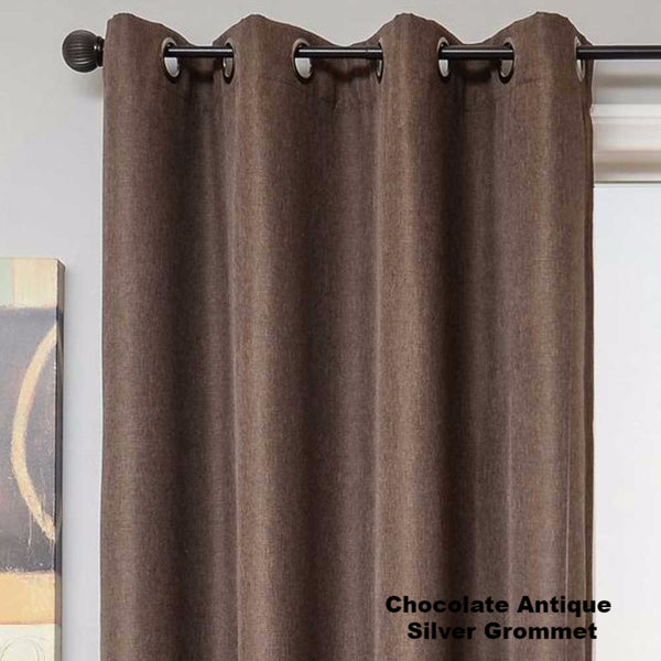 Euro-Linen-Flame-Retardant-Grommet-Top-Panel-Chocolate-Antique-Silver Grommet-Zoom