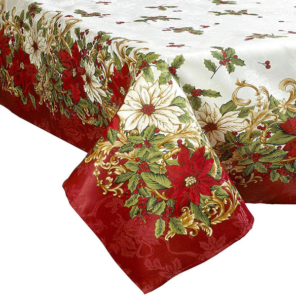 Closeup of Euro Seasonal Blossom Fabric Tablecloth on a oblong table