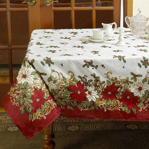 Euro Seasonal Blossom Fabric Tablecloth on a oblong table