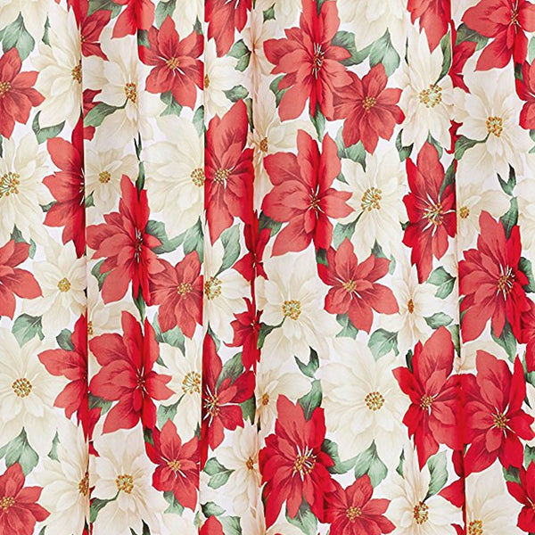 "Close Up shot of Red Seasonal Floral Poinsettia Fabric Shower Curtain  72""x 72"""