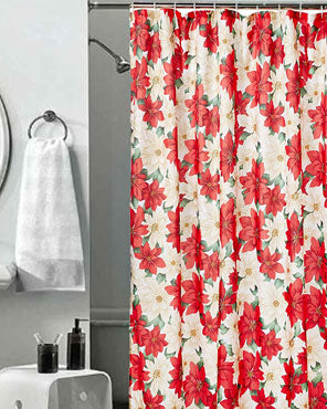 Red Seasonal Floral Poinsettia Fabric Shower Curtain hanging on a shower rod