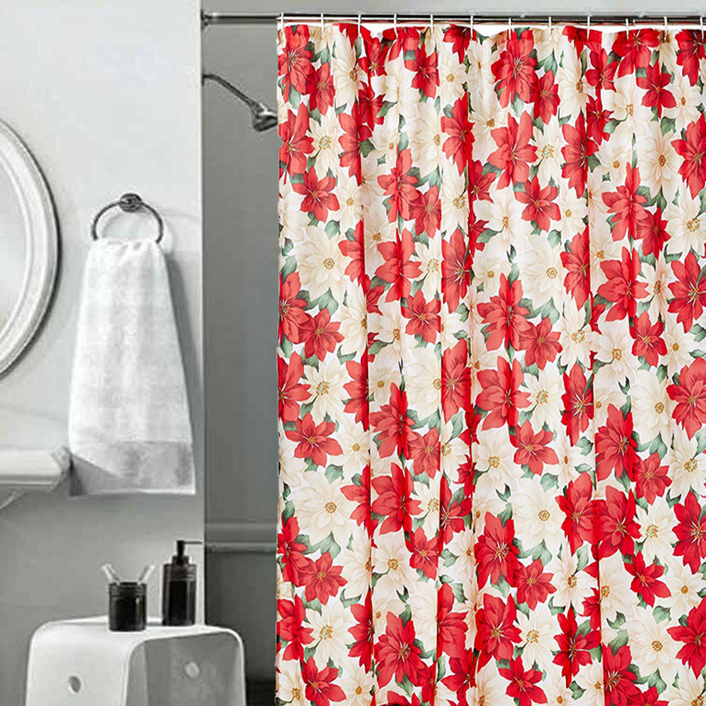 Seasonal-Floral- Poinsettia-Fabric- Shower Curtain-Zoom