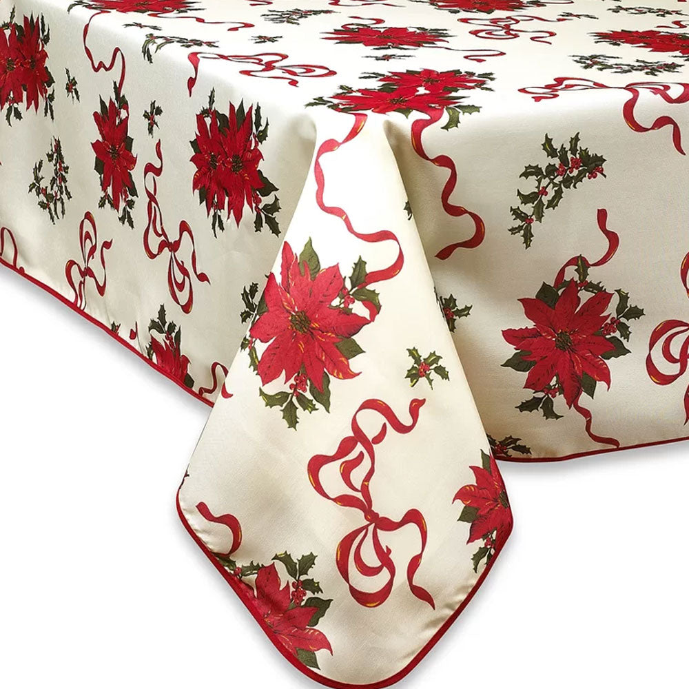 close up shot of ivory Euro Linen Poinsettia Fabric Table Cloth