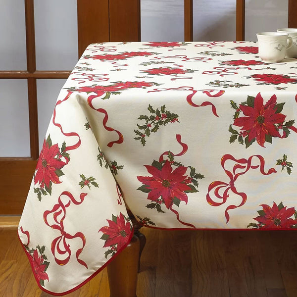 ivory Euro Linen Poinsettia Fabric Table Cloth
