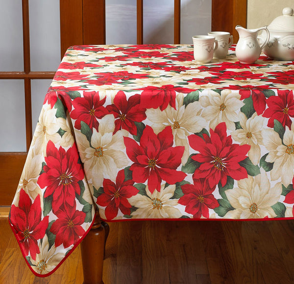 Multi Euro Seasonal Floral Fabric Tablecloth over a table