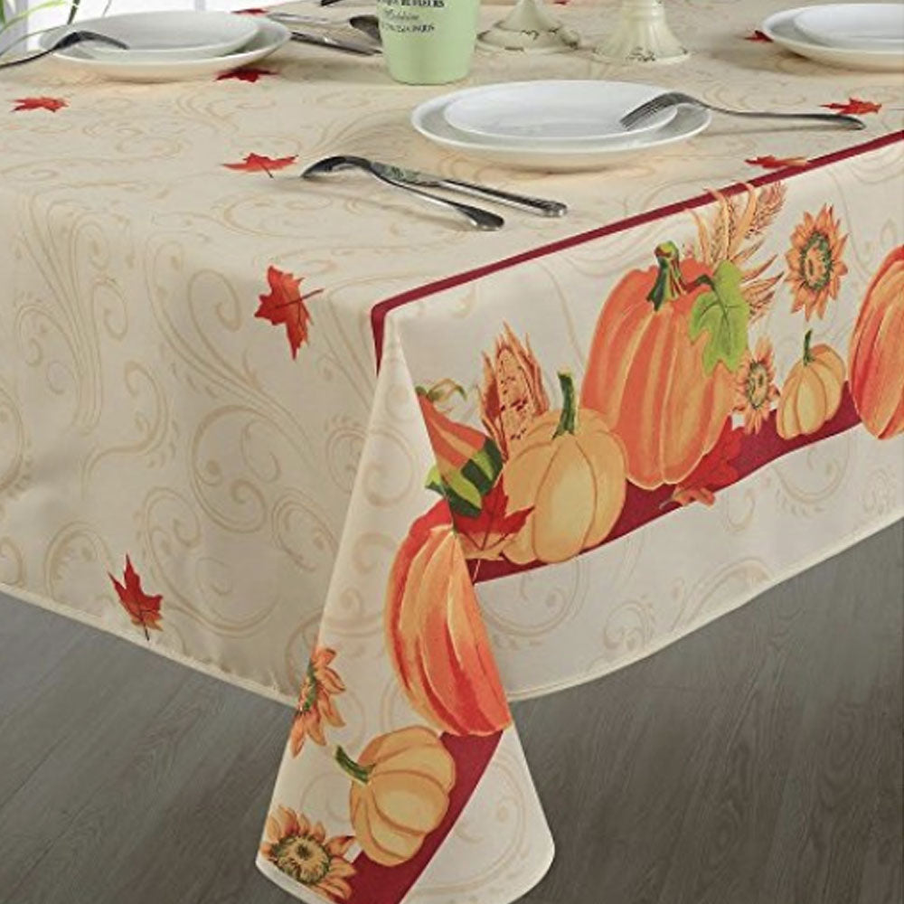 European Autumn Leaves Fabric Tablecloth