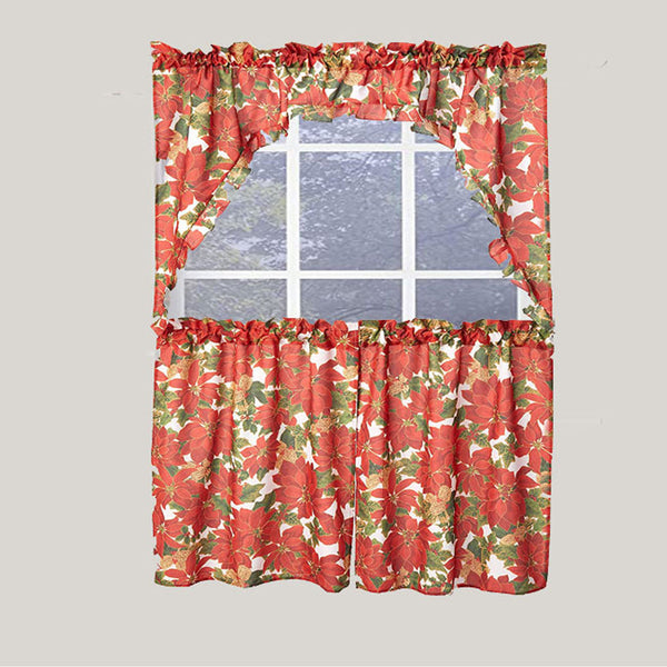 Euro Seasonal Botanical Kitchen Curtain Set