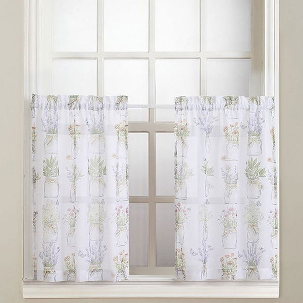 Eve's Garden Sheer Kitchen Tiers and Valance