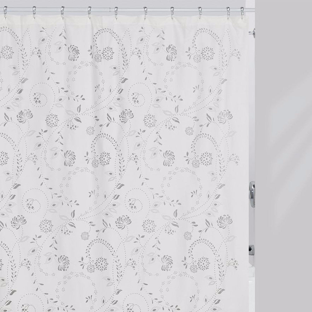 White fabric shower curtain - Eyelet Fabric Shower Curtain Zoom