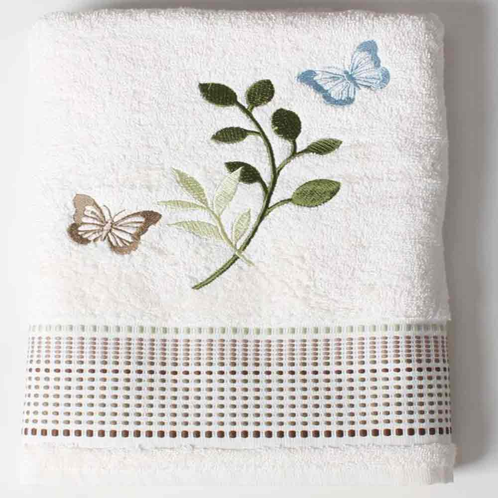 Linen Fluttering Fabric Shower Curtain bath towel