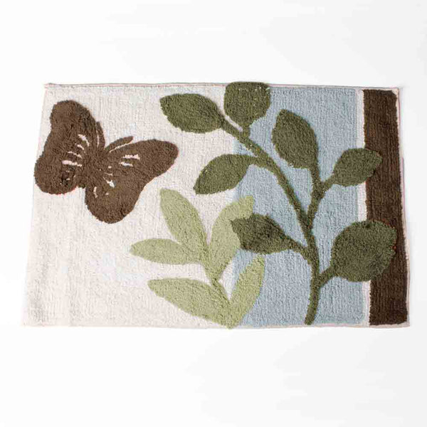 Linen Fluttering Fabric Shower Curtain bath mat