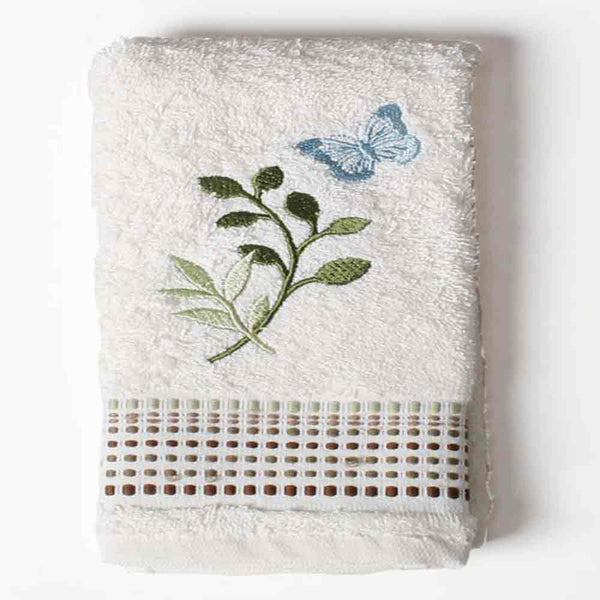 Linen Fluttering Fabric Shower Curtain finger tip towel