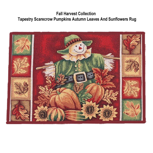 Fall-Collection-Tapestry-Rug-Scarecrow-Pumpkins-Autumn-Leaves-And-Sunflowers