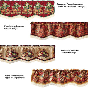 "60""x 15"" Fall Tapestry Scalloped Valances"
