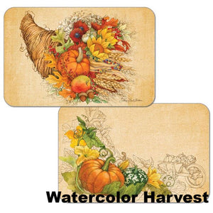 Watercolor Harvest Autumn Reversible Plastic Placemats