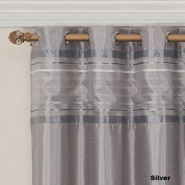 close up shot of Silver Fiesta Faux Silk Grommet Top Panel fabric and grommets