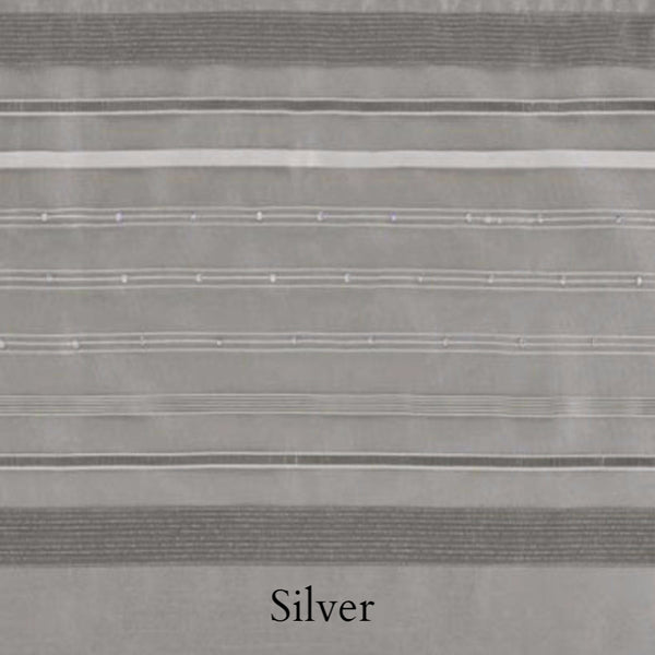 Closeup of Silver Fiesta Faux Silk Grommet Valance fabric