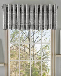 Fiesta Faux Silk Grommet Valance hanging on a rod