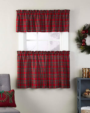 Fireside Plaid Kitchen Tiers and Valance