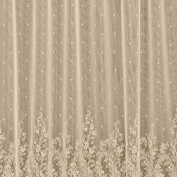 Closeup of Ecru Floret Lace Kitchen Valance, Swags and Tier Curtain fabric lace