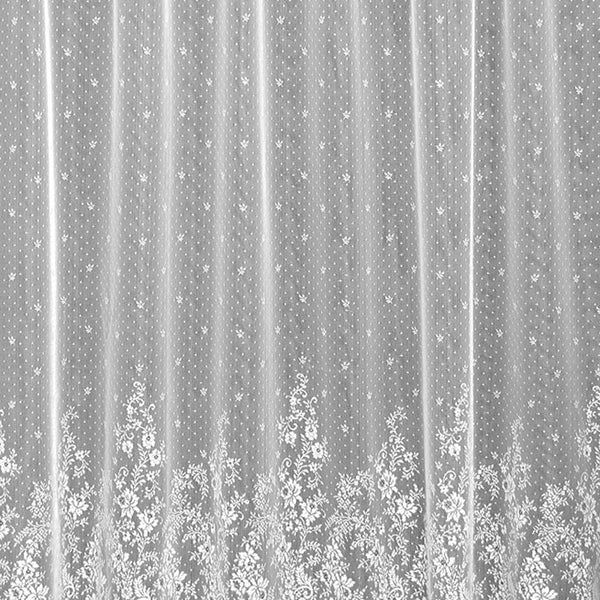 Closeup of White Floret Lace Curtain and Valance fabric