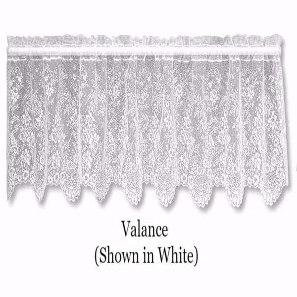 Closeup of White Floret Lace Valance