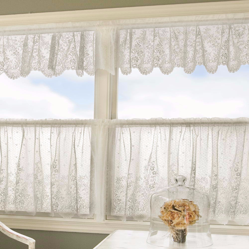Floret Lace Kitchen Valance, Swags and Tier Curtain hanging on curtain rods