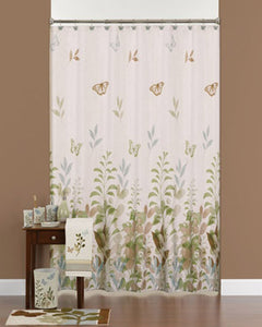 Linen Fluttering Fabric Shower Curtain hanging on a shower curtain rod