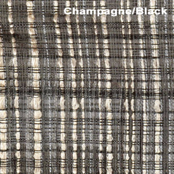 Up close shot of Champagne/Black Flynn Flame Retardant Sheer Rod Pocket Panel fabric