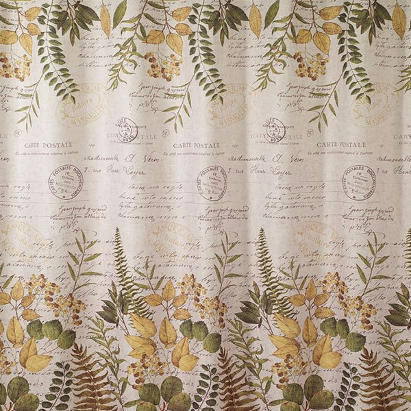 Close up shot of Ivory Foliage Garden Fabric Shower Curtain fabric
