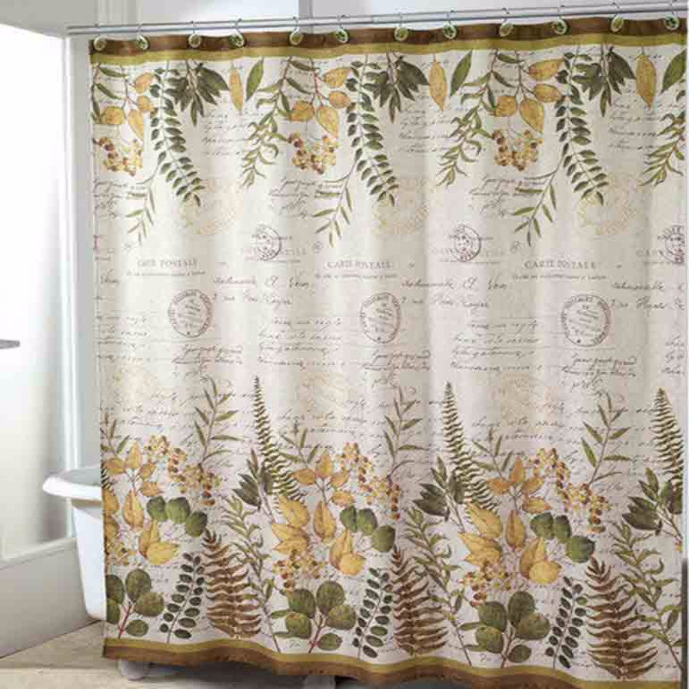 Ivory Foliage Garden Fabric Shower Curtain hanging on a shower curtain rod