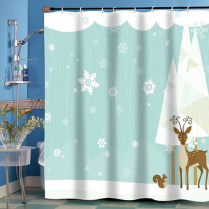 Multi Forrest Friends Fabric Shower Curtain hanging on a decorative shower curtain rod