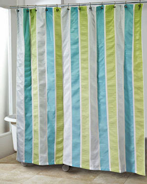 Multi Freeport Fabric Shower Curtain hanging on a shower curtain rod