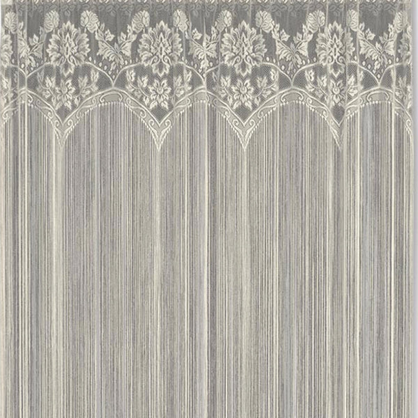 Closeup of Ecru Gala String Lace Curtain fabric