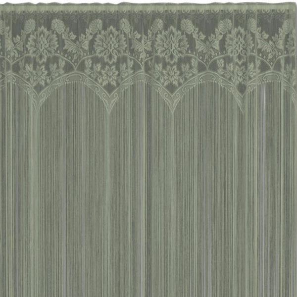 Closeup of Silver Sage Gala String Lace Curtain fabric