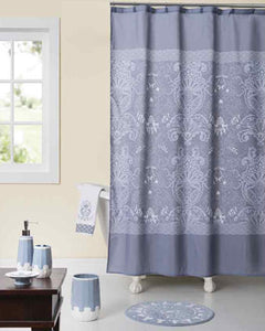 Blue Gallerie Collection Cherie Fabric Shower Curtain hanging on a shower curtain rod