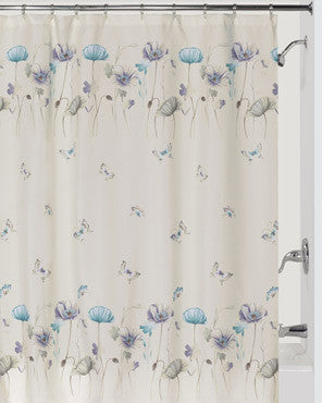 Lilac Garden Gate Fabric Shower Curtain hanging on a shower curtain rod