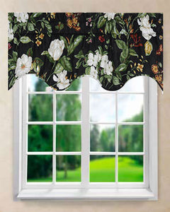 Garden Images Duchess Lined Filler Valance hanging on a curtain rod