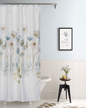 Multi Garden Melody Fabric Shower Curtain hanging on a shower curtain rod
