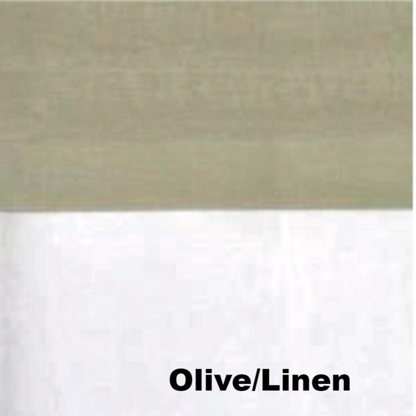close up shot of Olive/Linen Geneva Semi Sheer Patio Grommet Top Panel fabric