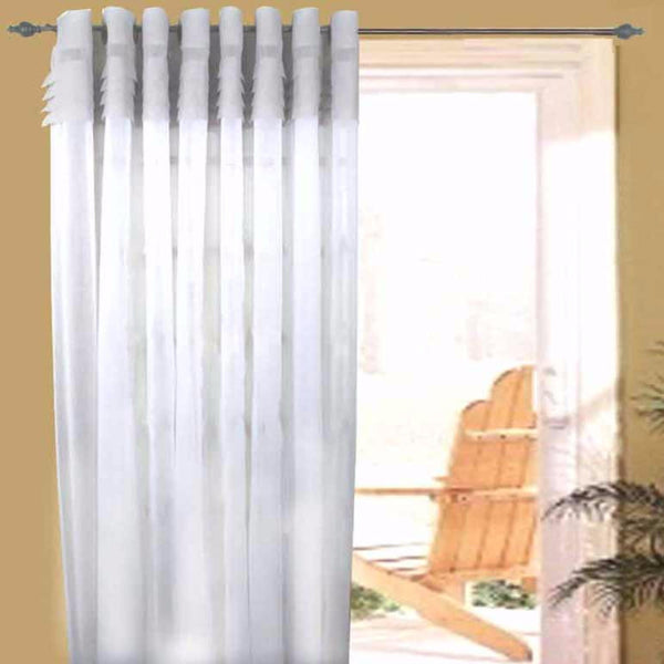 Grey/White Geneva Semi Sheer Patio Grommet Top Panel hanging on a decorative curtain rod